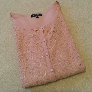 Very Pretty Blush Pink Lace Front Button Cardigan